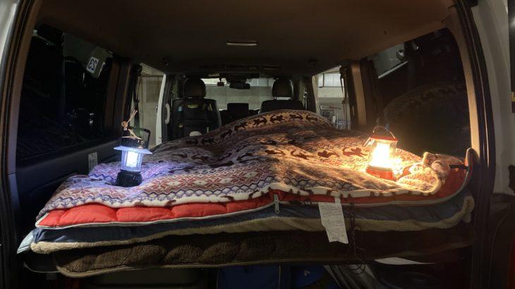 雪が降ったから早速、冬の車中泊に向けて寝具をセッティングしてみた!